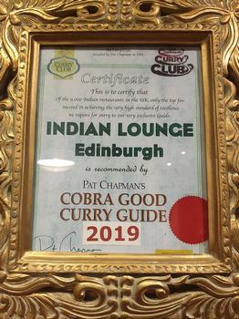 Indian Lounge Edinburgh best curry. Cobra good curry guide award.